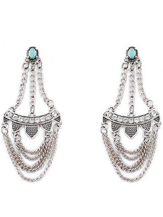 unique Rhinestone Inlaid Tassel Design Earrings - SILVER