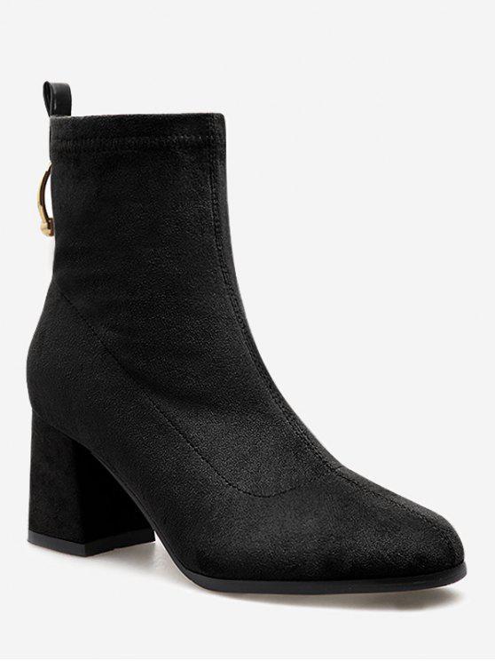 womens Circle Decorative Chunky Heel Ankle Boots - BLACK EU 37