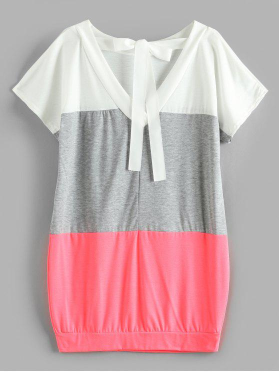 fashion V Back Ribbon Color Block Dress - WATERMELON PINK XL