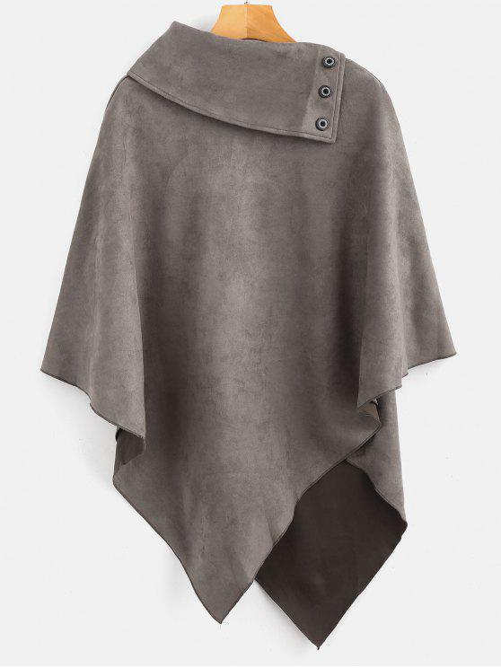 lady ZAFUL Bawing Faux Suede Cloak Coat - CARBON GRAY S