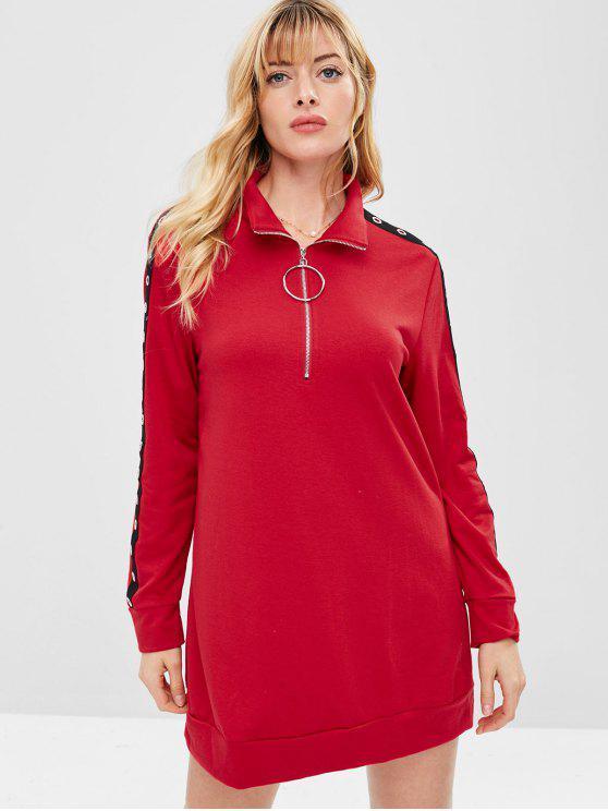ZAFUL نصف الرمز البريدي جروميت البلوز اللباس - أحمر M