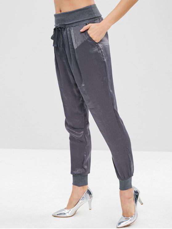 women's ZAFUL High Waist Drawstring Jogger Pants - DARK GRAY XL