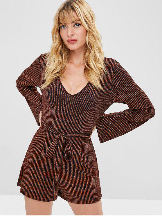 shops ZAFUL Metallic Belted Striped Romper - MULTI M