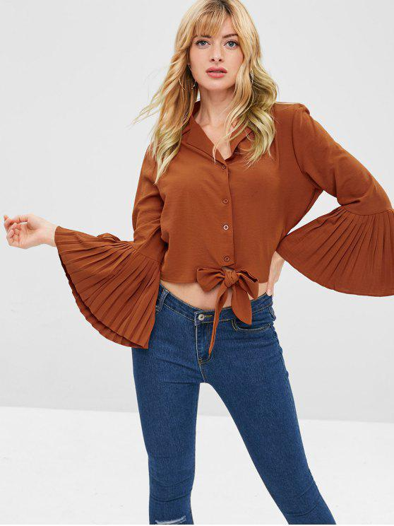 affordable ZAFUL Knotted Pleated Flare Sleeves Blouse - CHOCOLATE XL
