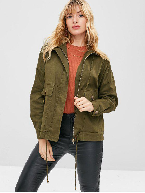 womens ZAFUL Zip Pocket Drop Shoulder Jacket - ARMY GREEN M