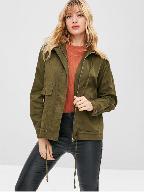 women ZAFUL Zip Pocket Drop Shoulder Jacket - ARMY GREEN S