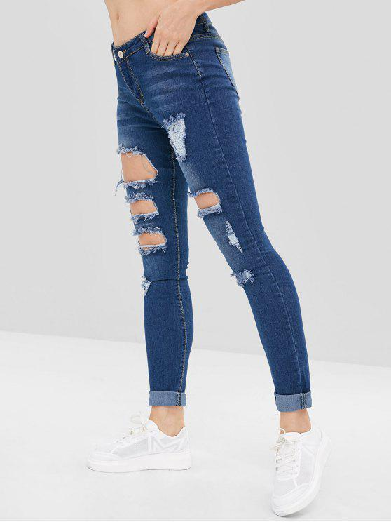 lady Distressed Holes Low Rise Jeans - DEEP BLUE 2XL