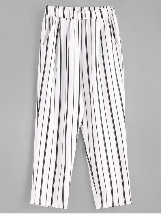 Pantalon droit à poches rayées - Blanc L