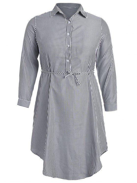 Robe Chemise Rayée à Demi-bouton - Multi M