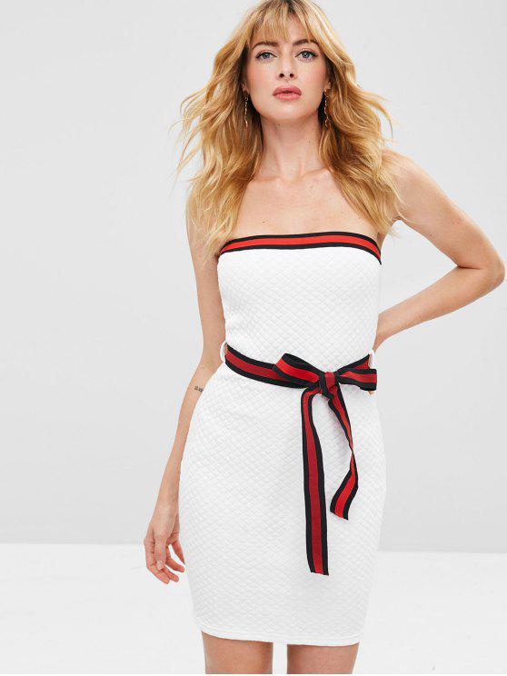 hot Striped Trim Bandeau Dress - WHITE L