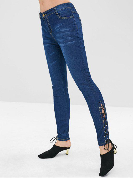 unique Lace Up Cuffs Skinny Jeans - DEEP BLUE S