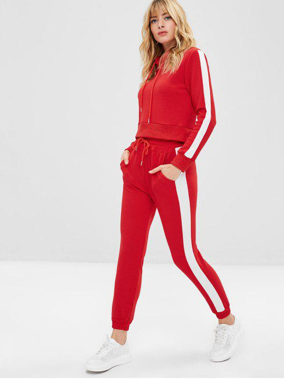 affordable Color Block Textured Drawstring Pants Set - RED XL