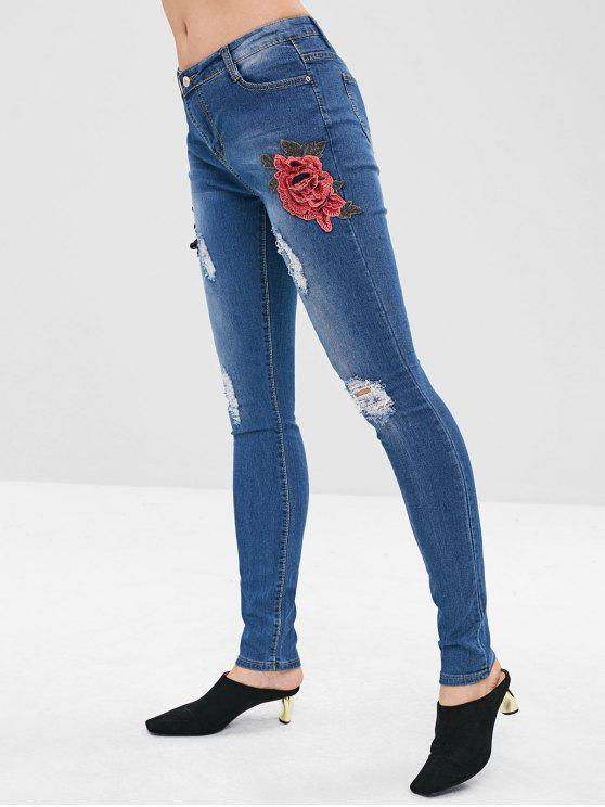 fancy Floral Appliqued Ripped Skinny Jeans - BLUE L