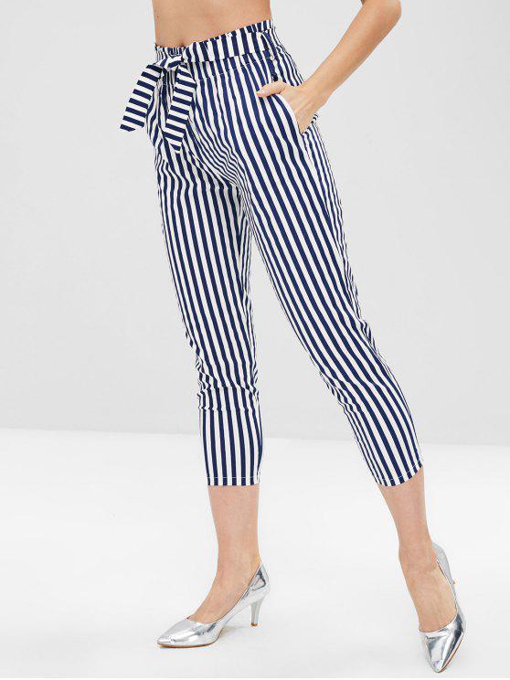 Pantalon Rayé Ceinturé à Taille Elastique - Bleu de Minuit L