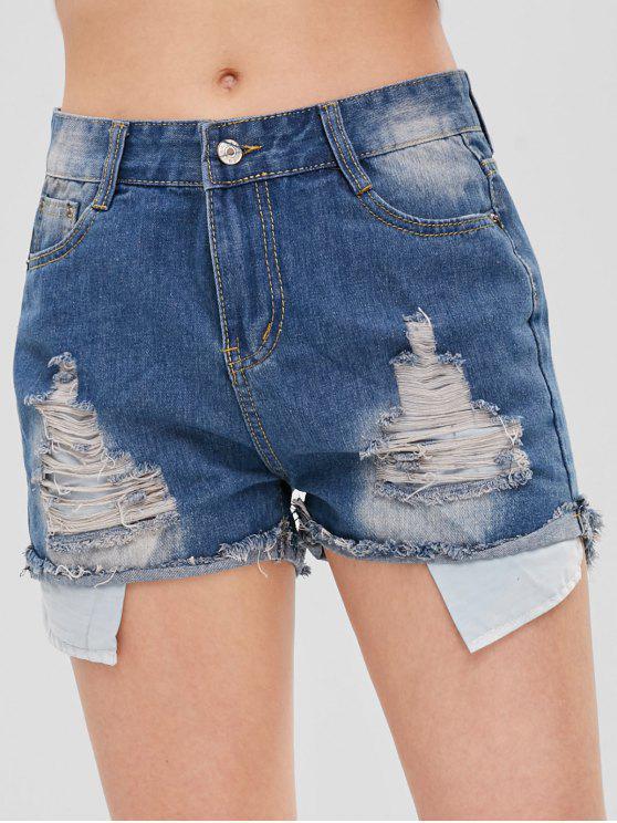 women Distressed Denim Shorts - BLUE M