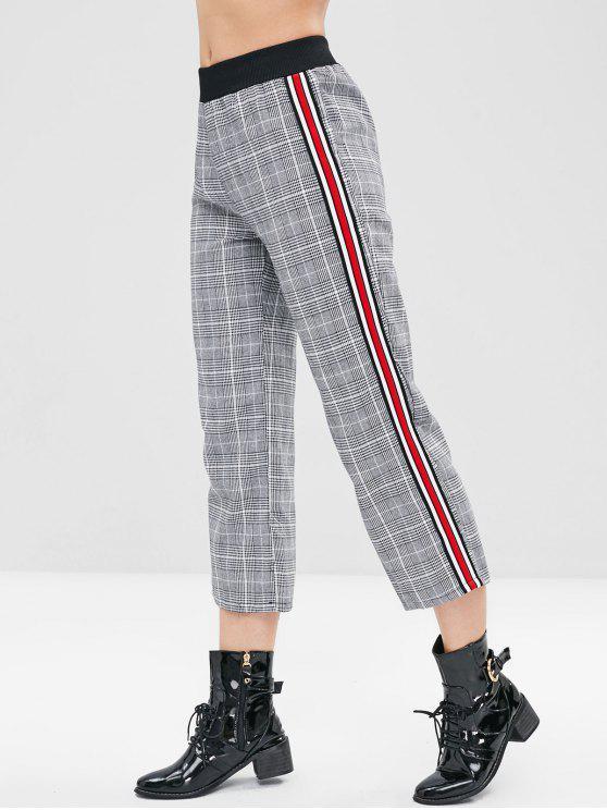 new Stripe Trim Checked Pants - MULTI-A L