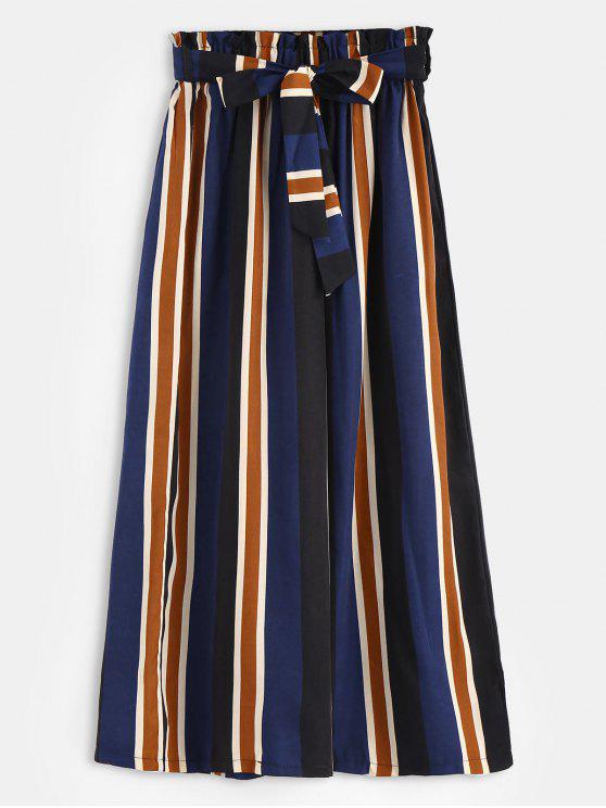 shops Pockets Belted Stripes Wide Leg Pants - MULTI M
