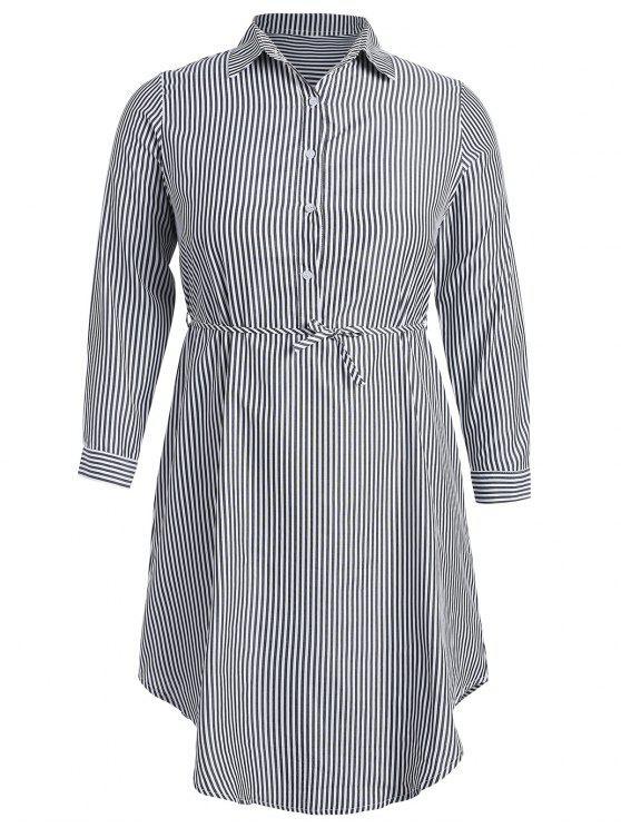 fashion Half-button Striped Shirt Dress - MULTI S