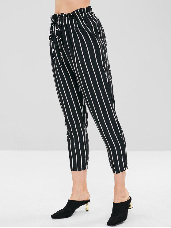 chic Stripe Self Tie Capri Pants - BLACK L