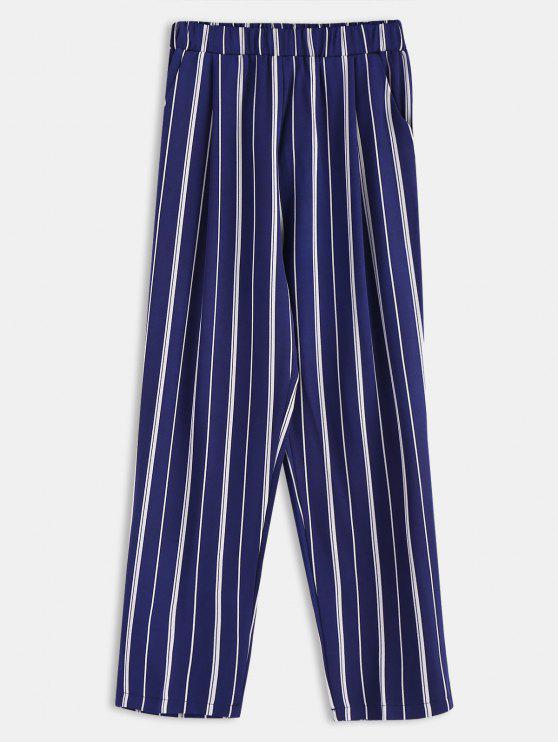 womens Stripes Pockets Straight Pants - DEEP BLUE M