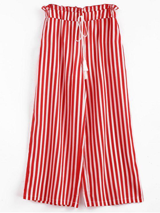 women's Stripes Tassels Wide Leg Pants - LAVA RED S