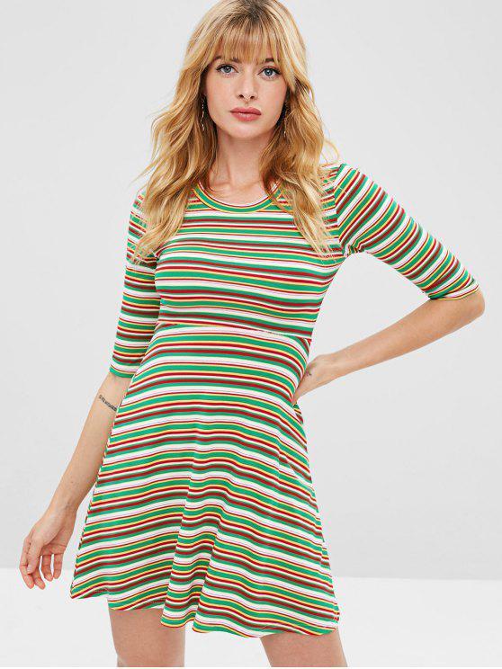 women Colorful Striped Flare Dress - MULTI-A L
