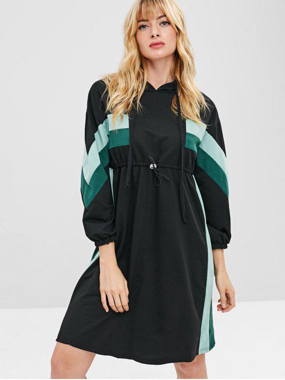 ladies Striped Hooded Drop Shoulder Dress - BLACK L