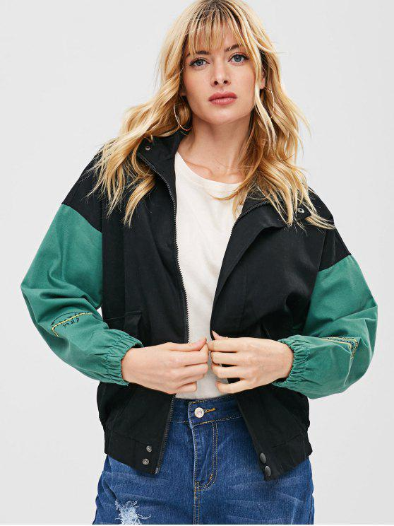 affordable Letter Embroidered Drop Shoulder Loose Jacket - BLACK L