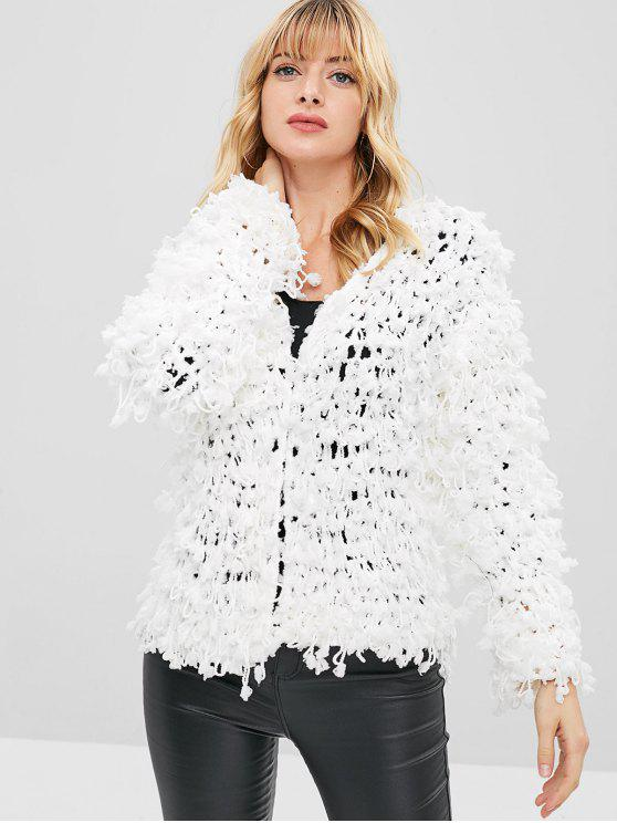 online Open Front Knit Fluffy Fringed Cardigan - WHITE ONE SIZE
