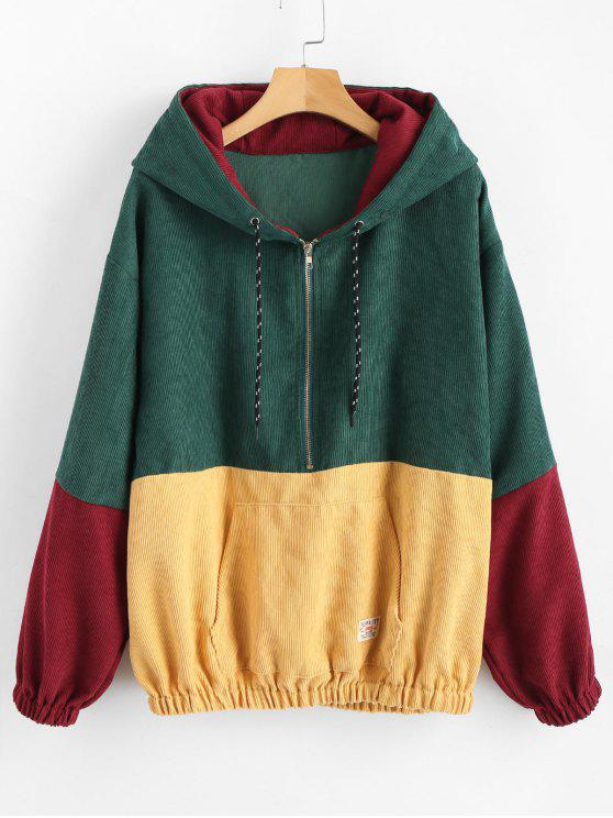 affordable Front Pocket Contrast Corduroy Hoodie - MULTI M