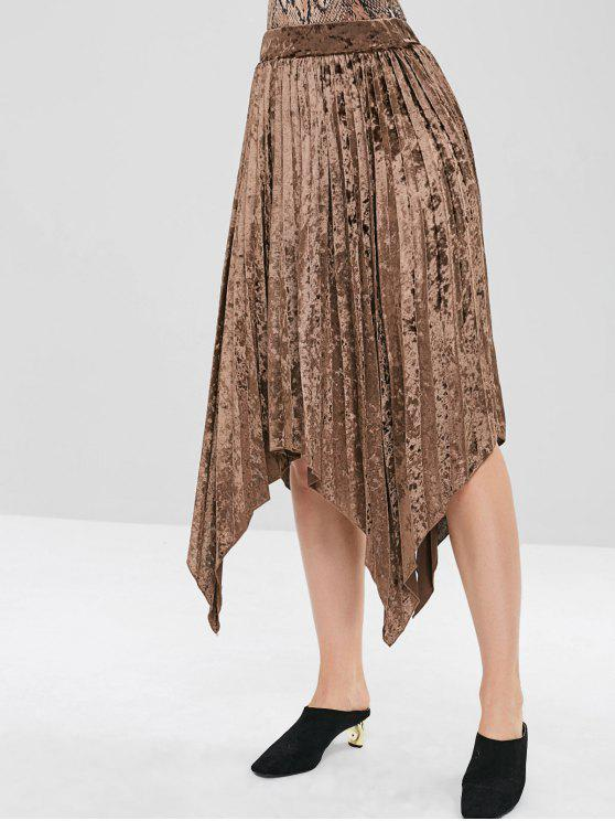 4cbad345da 32% OFF] 2019 Hanky Hem Velvet Pleated Midi Skirt In COFFEE | ZAFUL