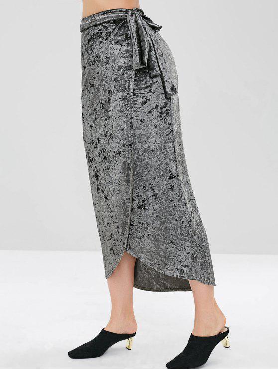 2e9921fe0 34% OFF] 2019 Velvet Wrap Tie Midi Skirt In GRAYISH TURQUOISE   ZAFUL