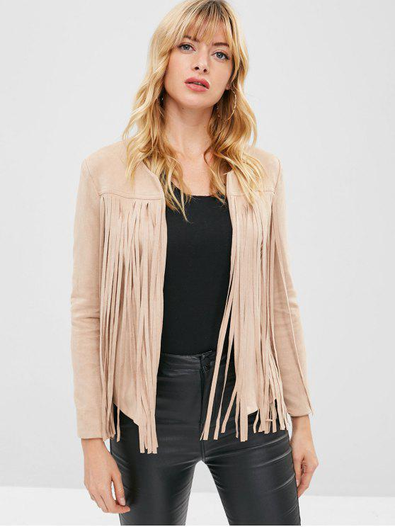 women ZAFUL Fringed Faux Suede Jacket - APRICOT M