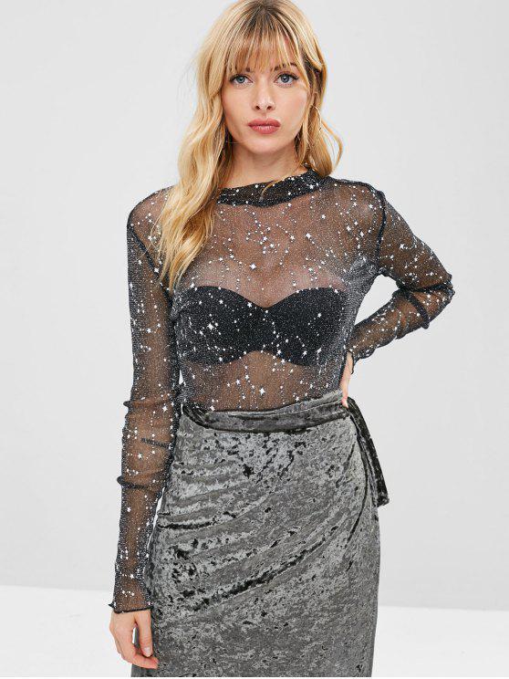 shops ZAFUL Sparkle Stars Long Sleeve Sheer Top - BLACK L