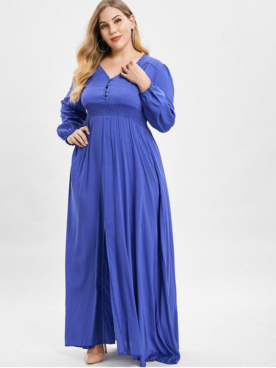 buy ZAFUL Plus Size Plunge Slit Maxi Dress - BLUEBERRY BLUE 1X