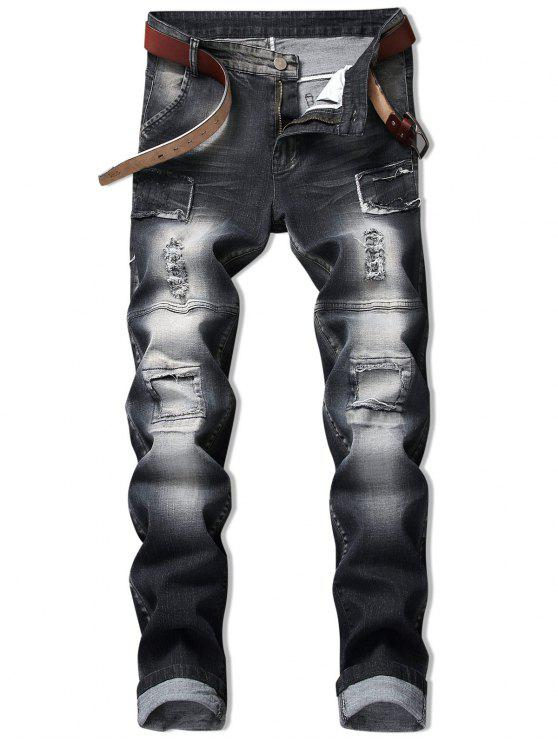 online Vintage Patchwork Ripped Faded Jeans - BLACK 34