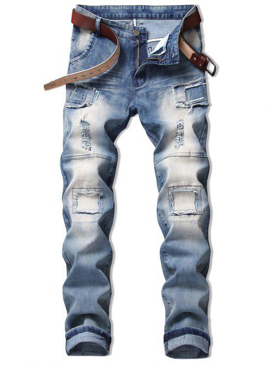 shops Vintage Patchwork Ripped Faded Jeans - DENIM BLUE 34