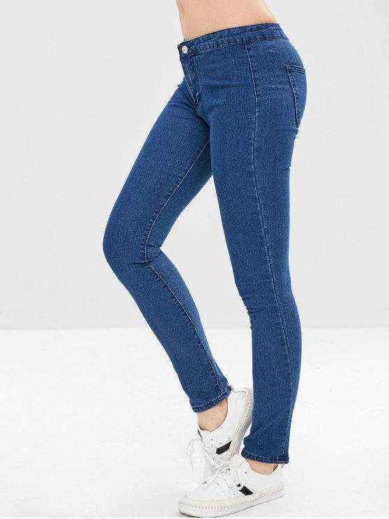 Calças Jeans Apertadas de Zíper - Azul Escuro XL