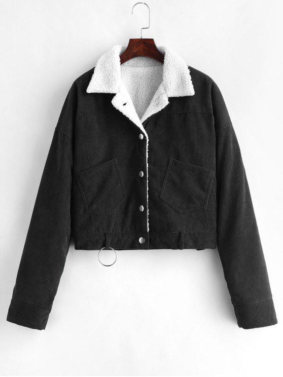 outfit Fleece Drop Shoulder Corduroy Jacket - BLACK XL