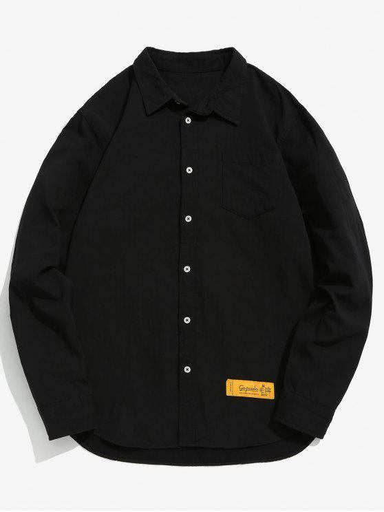 Chemise de poche poitrine patchwork au coude - Noir M