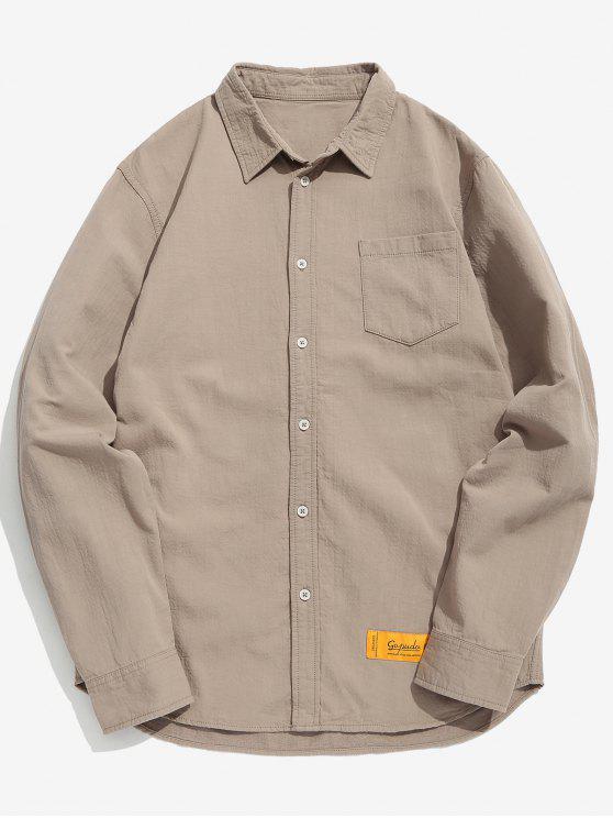 Chemise de poche poitrine patchwork au coude - Kaki 2XL