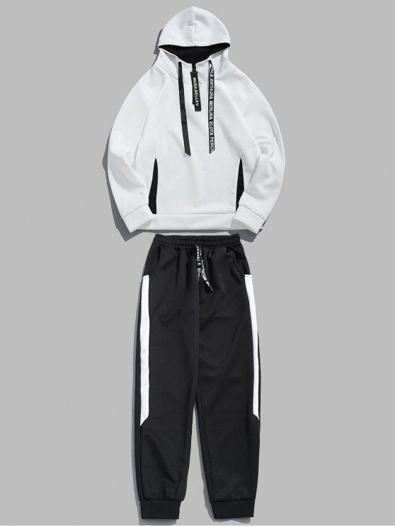 affordable Contrast Hoodie Sweatpants Suit - WHITE M