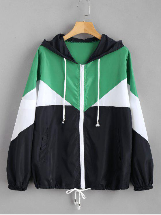 outfit Color Block Zip Up Hooded Jacket - MULTI M