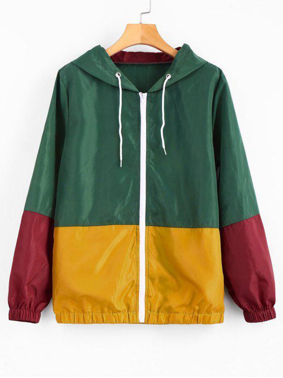 fashion Hooded Windbreaker Color Block Jacket - MULTI S