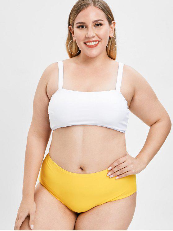 affordable Padded Plus Size High Waisted Bikini Set - BEE YELLOW 1X