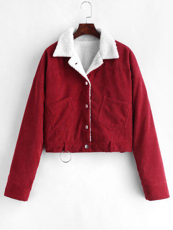 women's Fleece Drop Shoulder Corduroy Jacket - RED WINE M