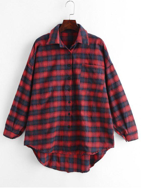 fancy Plaid Front Pocket Boyfriend Shirt - RED M