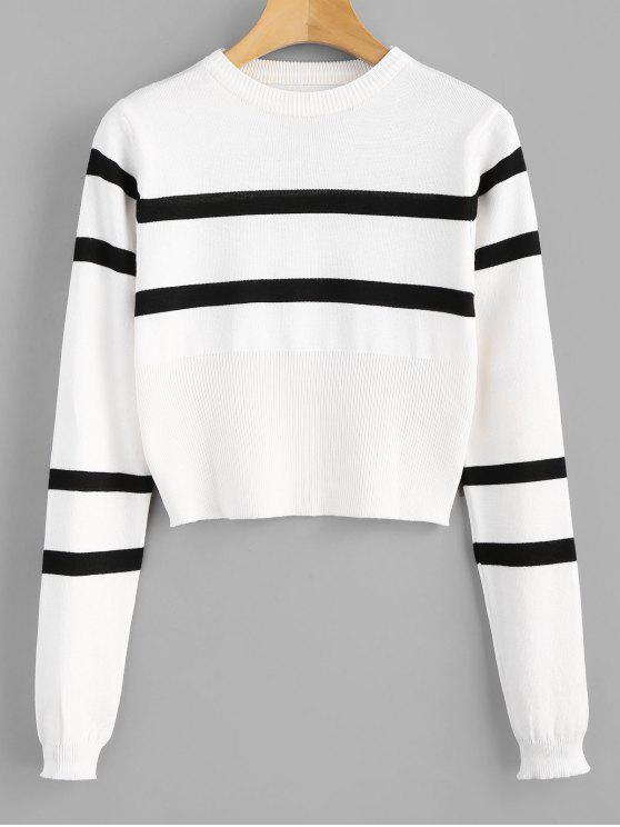 hot Striped Round Neck Short Sweater - WHITE ONE SIZE