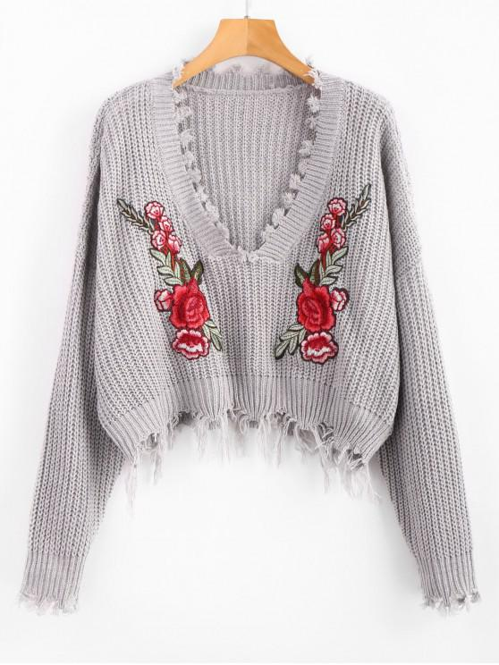 shop V Neck Frayed Floral Embroidered Pullover Sweater - GRAY ONE SIZE