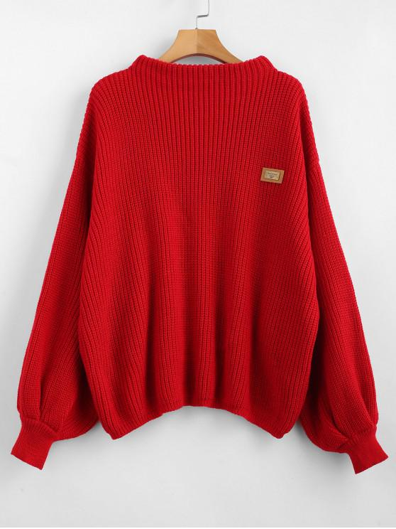 fashion ZAFUL Oversized Chevron Patches Pullover Sweater - LAVA RED ONE SIZE